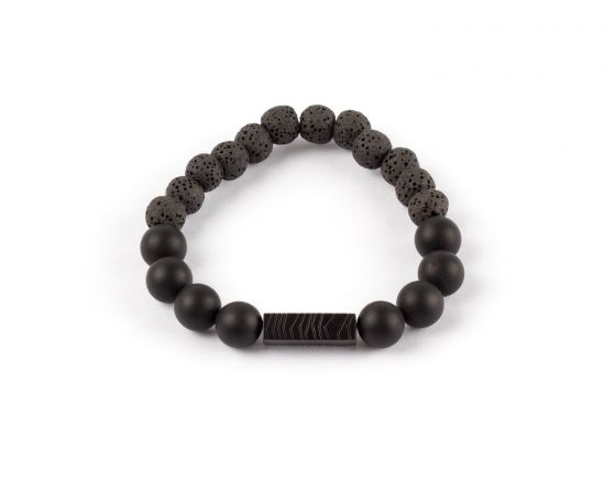 Lomar Bracelet #9 Black from Gray Lava& Frosted Black Stone