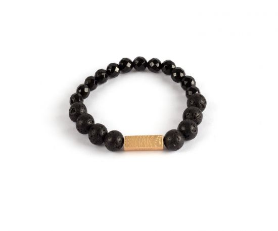 Lomar Bracelet #8 Black from Black Agate& Black Lava